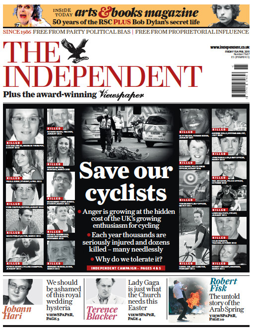 Newspaper Cycling Safety Campaigns